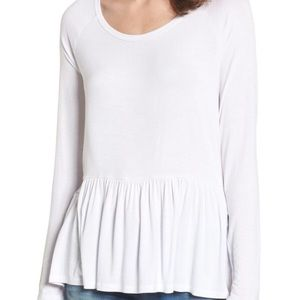 BP long sleeve ruffle peplum top T-shirt